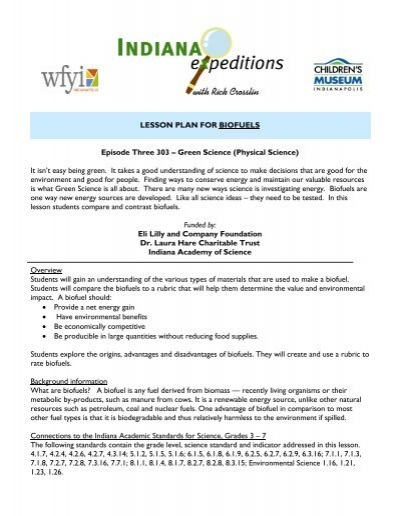 LESSON PLAN FOR BIOFUELS Episode Three 303 – Green     - WFYI