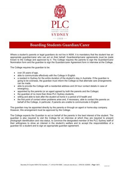 Overseas Boarding Student Guardianship Form