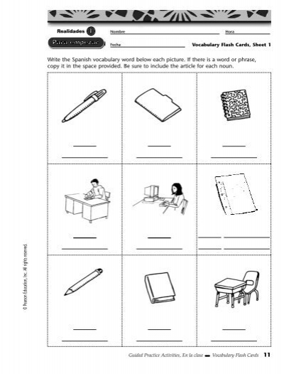 Write the spanish vocabulary word below each picture if cibacs ccuart Image collections