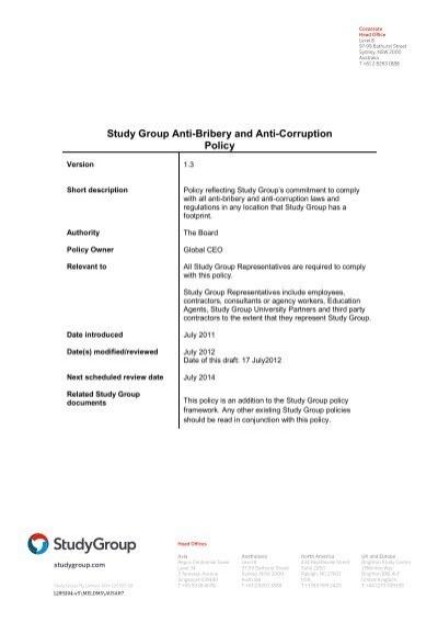 study group anti bribery and anti corruption policy 2012