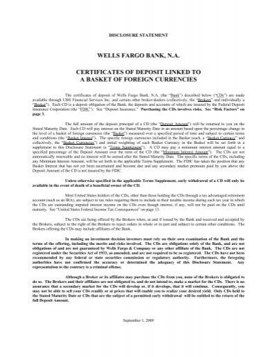 wells fargo bank, na certificates of deposit linked to ... - Online ...