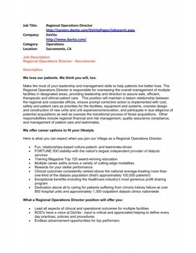 Job Title: Regional Operations Director http://careers     - Students