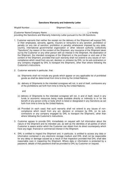 5 customer shall indemni sanctions warranty and indemnity letter waybill number dhl altavistaventures Image collections