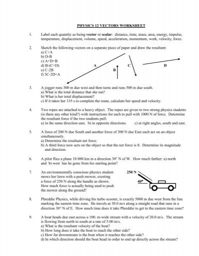 Physics 12 Vectors Worksheet 1 Label Each Mbourget