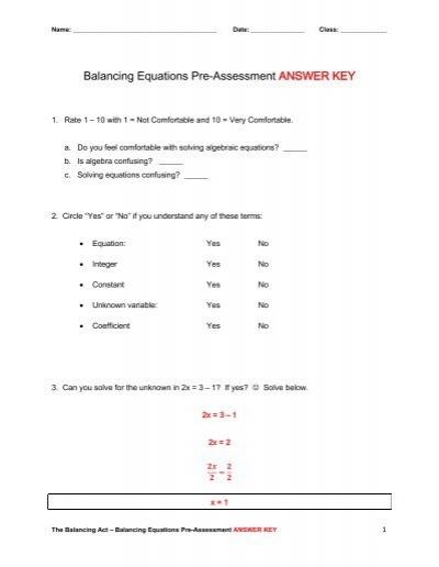 Balancing equations worksheet 8th grade