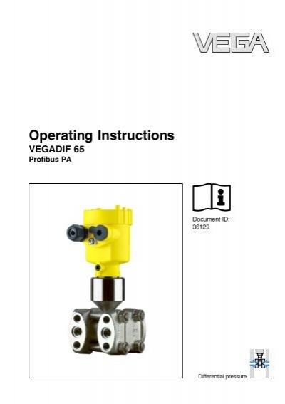 Operating Instructions Vegadif 65 Profibus Pa Insatech