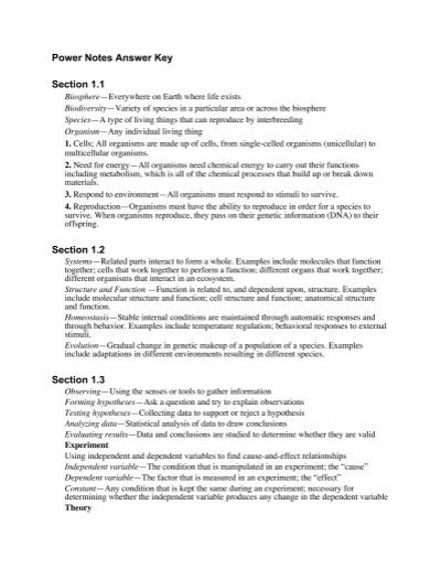 power notes answer key section 1 1 section 1 2 section 1 3 rh yumpu com 18 Science Answer Key Holt Biology Skills Worksheet 17 3 Modern Biology Answer Key
