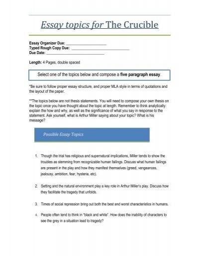 English Essays Book  Health Awareness Essay also English Essay Internet Crucible Essay Topics  Gdhs English Department Essay Examples High School