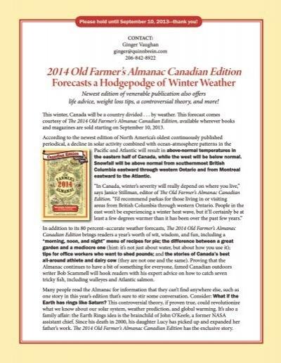 2014 Old Farmer's Almanac Canadian Edition - Old Farmers Almanac