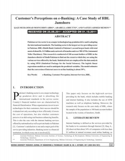 A Case Study Of Hbl Jamshoro