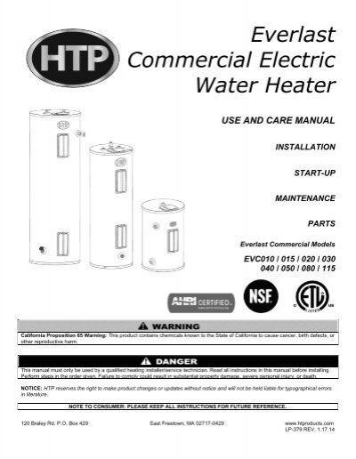 everlast commercial electric water heater - heat transfer products