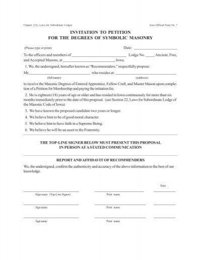 Gl Form No Invitation To Petition  The Grand Masonic Lodge Of Iowa
