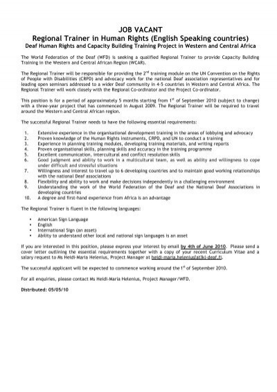 JOB VACANT Regional Trainer In Human Rights - World ...