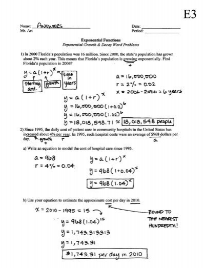 Exponential Functions - Growth & Decay - Worksheet - E3 - Answers ...
