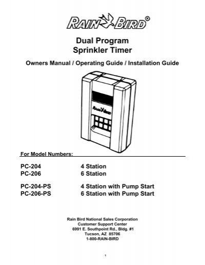 Rain Bird PC-200 Series Rain Clock Owner's Manual