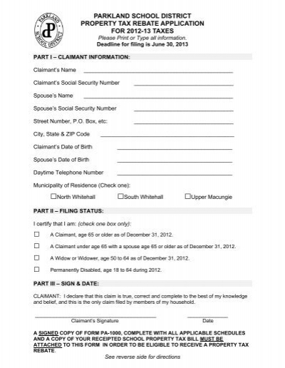 Senior Citizen Tax Rebate Form - Parkland School District