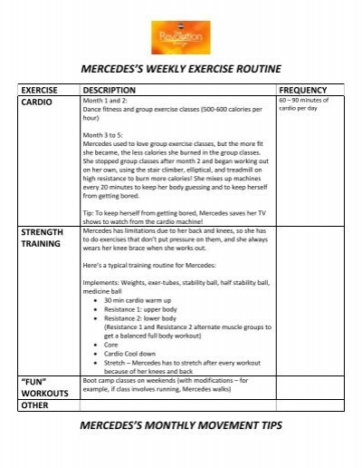 mercedes s weekly exercise routine mercedes s monthly movement