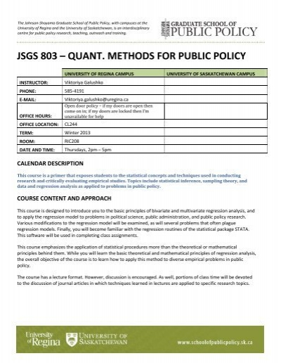 JSGS 803 – QUANT  METHODS FOR PUBLIC POLICY - Johnson