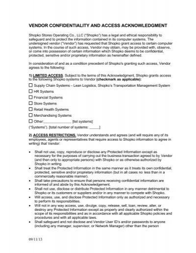 Shopko Vendor Confidentiality Access Agreement Vendors – Vendor Confidentiality Agreement