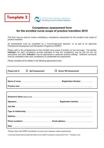 EN Competence Assessment Form Template 2 – Competency Assessment Template