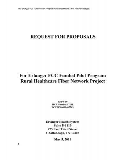 REQUEST FOR PROPOSALS For Erlanger FCC Funded Pilot