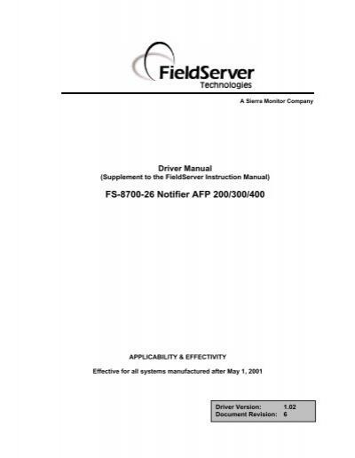 FS 8700 26 Notifier AFP 200 300 400 FieldServer Technologies