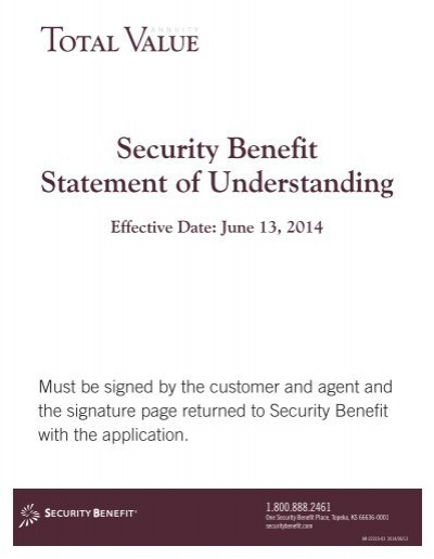 security benefit statement of understanding total value annuity