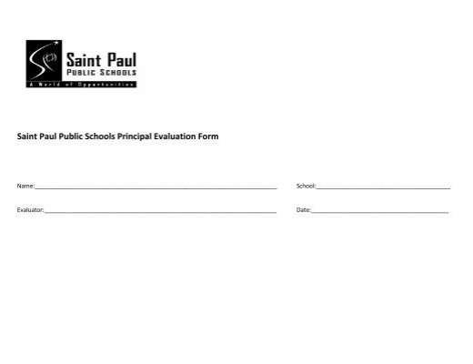Saint Paul Public Schools Principal Evaluation Form  Office Of