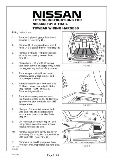 Nissan Patrol Tow Bar Wiring Harness : Fitting instructions fitt