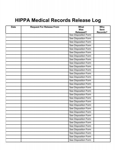 hipaa medical records release log