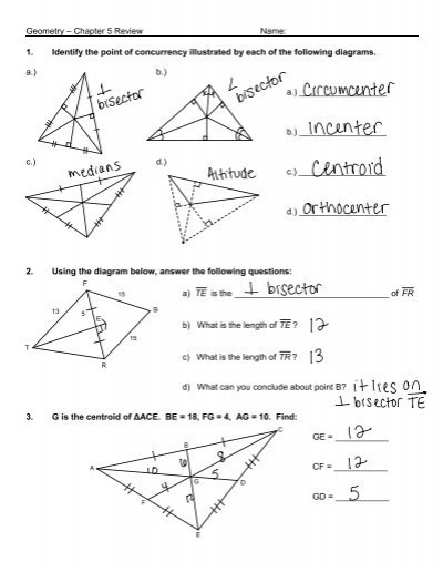 Geometry Chapter 5 Review Name 1 Identify The Point Of