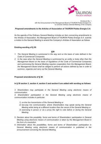 Proposed Amendments To The Companys Articles Of Tauron