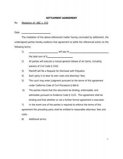 Settlement Agreement Form Agreement Mediate