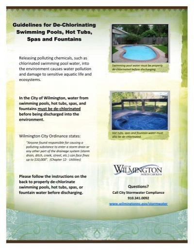 Guidelines For De Chlorinating Swimming Pools City Of Wilmington