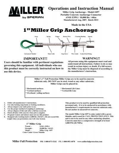 Miller by Honeywell 497// Grip Anchorage 1