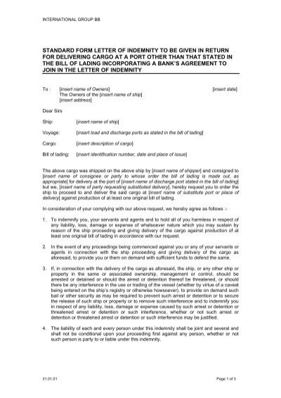Standard Form Letter Of Indemnity To Be Given In Return For