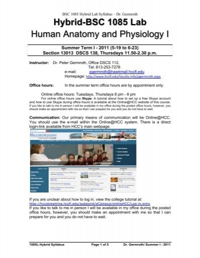 Hybrid-BSC 1085 Lab Human Anatomy and Physiology I