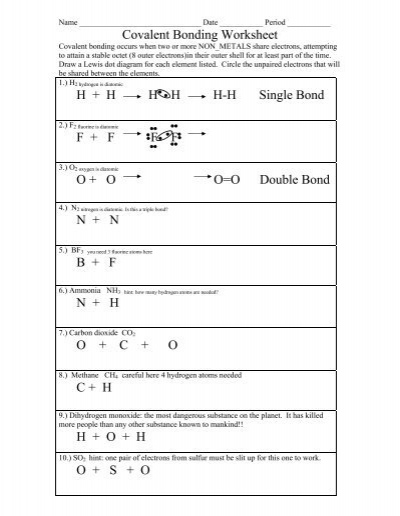 Worksheets Covalent Bonding Worksheet Answers bonding worksheet answers delibertad covalent delibertad