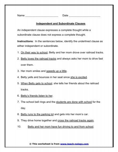 Worksheets Independent And Dependent Clauses Worksheets dependent clauses worksheets delibertad main independent subordinate exercise
