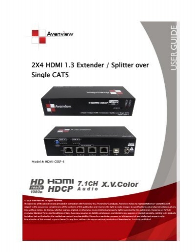 2x4 hdmi 13 extender splitter over single cat5 avenview sciox Images