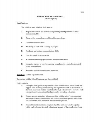 233 middle school principal  job description  qualifications