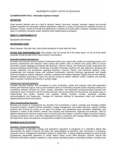 Job Description: Information Systems Analyst   Sacramento County .