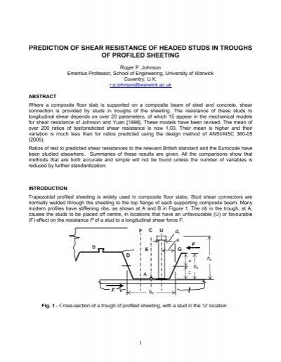 Prediction of shear resistance of shear studs in     - CCVI