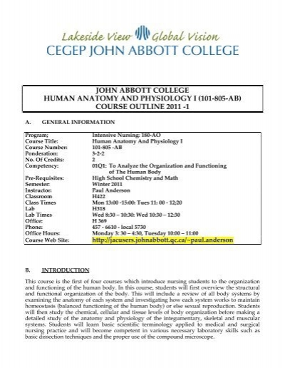 Course Outline 2011 1 John Abbott College
