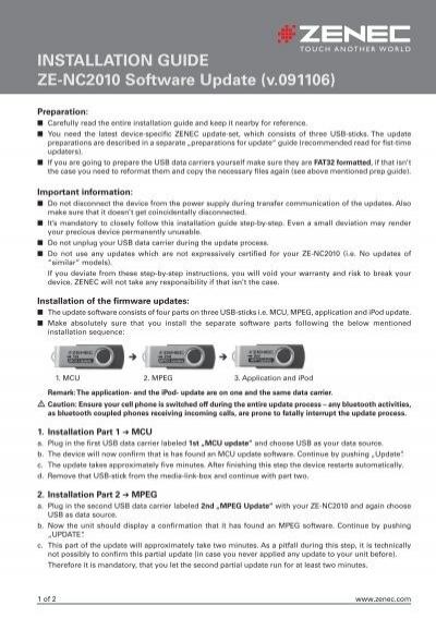 INSTALLATION GUIDE ZE-NC2010 Software Update (v     - Zenec