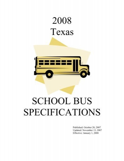 2008 Texas School Bus Specifications Revisions