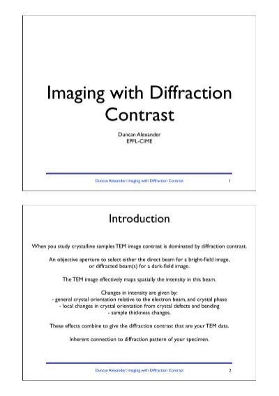 Chapter 14 - Imaging with diffraction contrast - CIME - EPFL