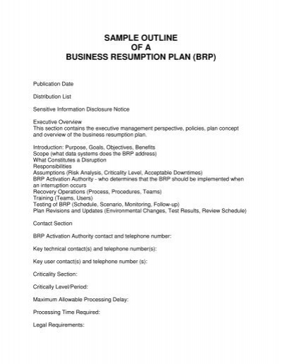 business resumption plan template