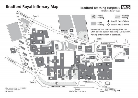 Bradford Royal Infirmary Map a map of BRI   Bradford Teaching Hospitals NHS Foundation Trust Bradford Royal Infirmary Map