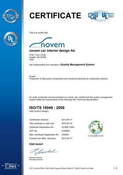 Certificate Novem Car Interior Design Gmbh